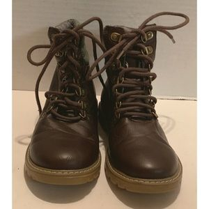 Tommy Hilfiger UNISEX Brown Olive Green Boot Sz 3